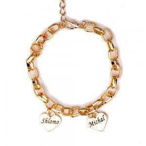 Bracelet Personnalisé Coeurs 1 à 6 Prénoms Doré