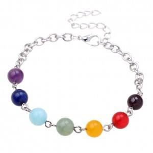 Bracciale Guarigione 7 Chakra - Catena-Regolabile - multi-colore