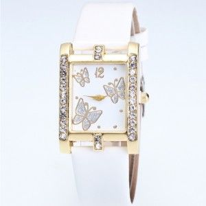 Watch Woman - Dial Rectangular - Butterfly - Leather - White