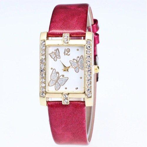 Montre Femme - Cadran Rectangulaire - Papillons - Cuir - Rouge