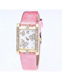 Watch Woman - Dial Rectangular - Butterfly - Leather - Pink