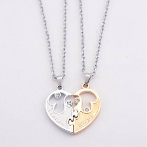 Collar Premium V2 Te Amo - Pareja En El Amor - Corazón De Oro/De La Plata