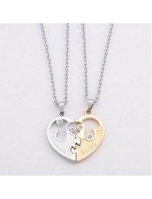 Collar Premium V2 I Love You - Couple In Love - Heart Golden/Silver