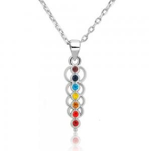 Collier - Guérison des 7 Chakra - Cercles de Vie - Multicolore