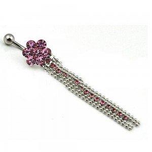 Piercing Nombril Sexy V2 Chaines De Diamants Acier Chirurgical Rose