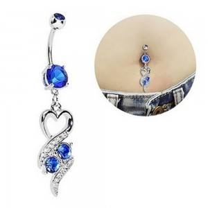 Piercing Belly Button - Heart Design Sexy - Surgical Steel - Blue