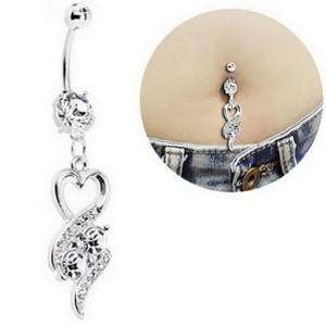 Piercing Ombligo - Diseño De Corazón Sexy - Quirúrgica De Acero - Blanco