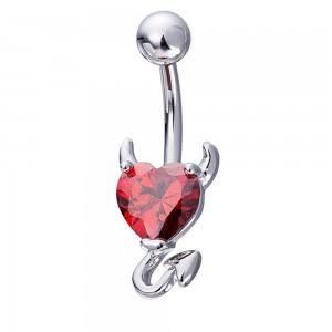 Piercing Nombril - Coeur Du Diable - Acier Chirurgical Argenté Rouge