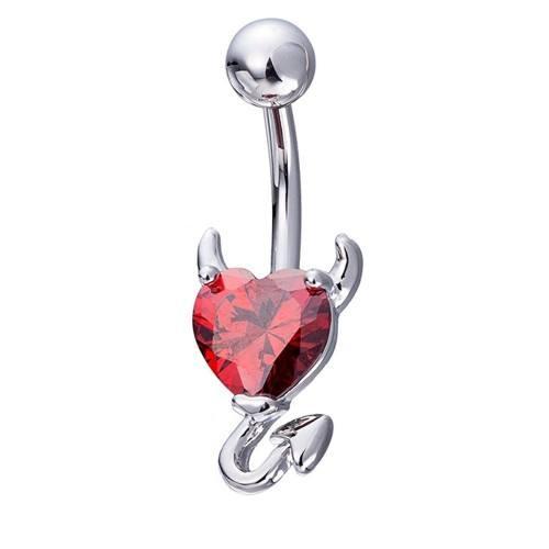 Piercing Ombligo - El Corazón Del Diablo - De Acero Quirúrgico, Plata Rojo
