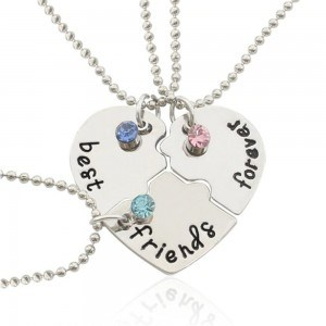 Collier - Best Friends - Meilleures Amies - Lot de 3 - Argenté