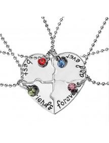 Halskette - Best Friends - Beste freunde - 4-er set - Silber