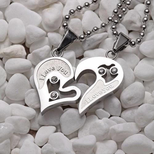 Collier - I Love You - Couple - Amoureux - Coeurs - Argenté