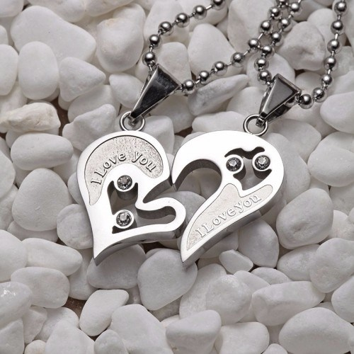 Necklace - I Love You - Couple - Love - Hearts - Silver