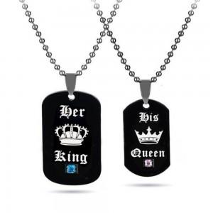Collier - Couple Her King His Queen (Son Roi Sa Reine) - Noir