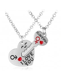 Necklace Couple Key Heart - Silver -