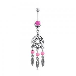 Piercing Ombligo - Mini Agarra Sueño De Acero Quirúrgico, Plata Rosa