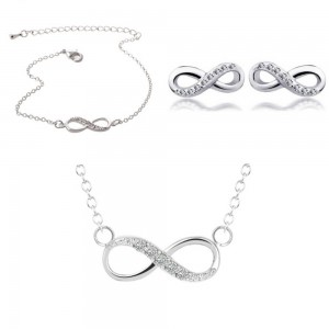 Πακέτο Κολιέ + Βραχιόλι + σκουλαρίκια Infinity Απλά, Silver