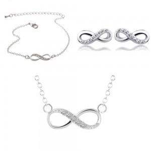 Pack Ketting + Armband + oorbellen Infinity Gewoon Zilver