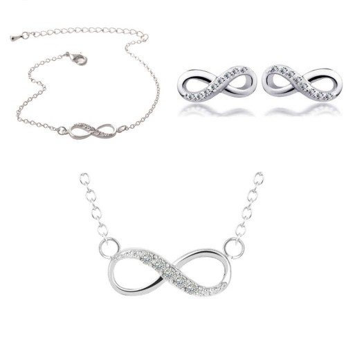 Pack Halskette + Armband + Infinity Simply Silver Ohrringe