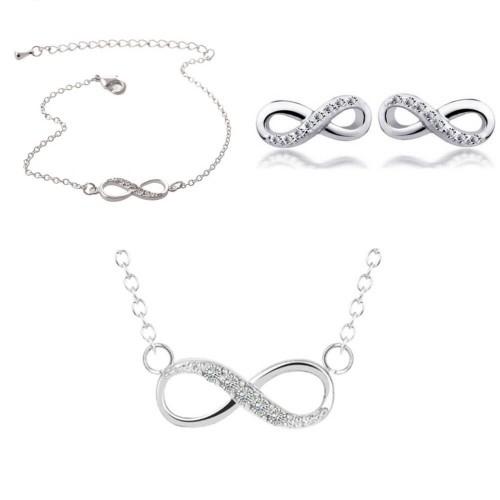 Balení náhrdelník + náramek + nekonečně jednoduše stříbrné náušnice