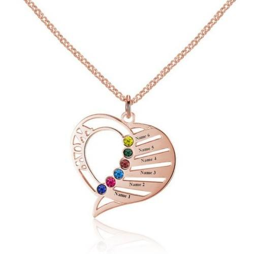 Necklace Heart MOM 6 Names Stones Births Rose Gold