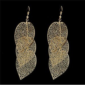 Earrings 3 Leaf Bohemian Gold Color