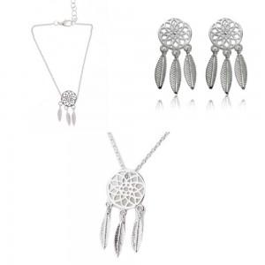 Pack Collier + Bracelet + Boucles D'oreilles Attrape Rêve Simply Argenté