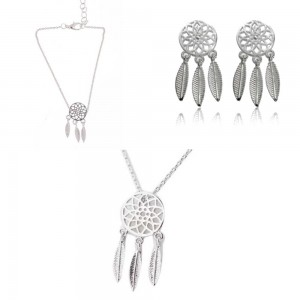 Pack Necklace + Bracelet + earrings Catches Dream Simply Silver
