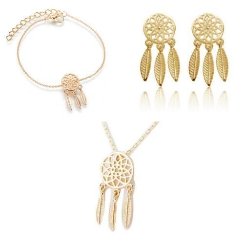 Pack Collier + Bracelet + Boucles D'oreilles Attrape Rêve Simply - Doré