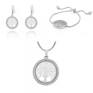 Pack Collier + Bracelet + Boucles D'oreilles Arbre De Vie Premium Argenté