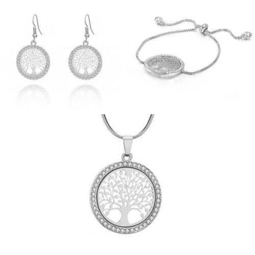 Pack Necklace + Bracelet + earrings Tree Of Life Premium Silver