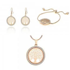 Pack Collier + Bracelet + Boucles D'oreilles Arbre De Vie Premium Doré
