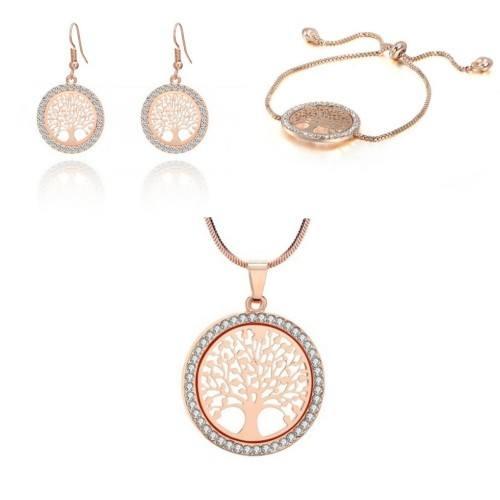 Pack Collier + Bracelet + Boucles D'oreilles Arbre De Vie Prem Or Rose