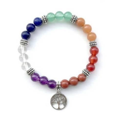 Bracciale Guarigione 7 Chakra - l'Albero Della Vita - Multicolore