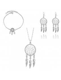 Pack Necklace Bracelet earrings Catch the Dream Premium - Silver
