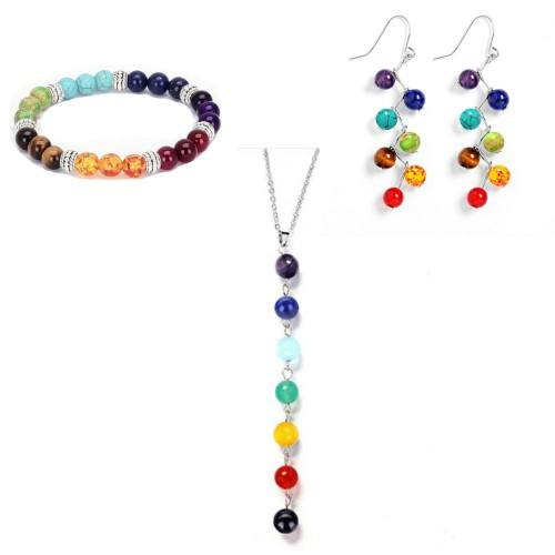 Pack de Collar Pulsera pendientes de Curación de los 7 Chakras