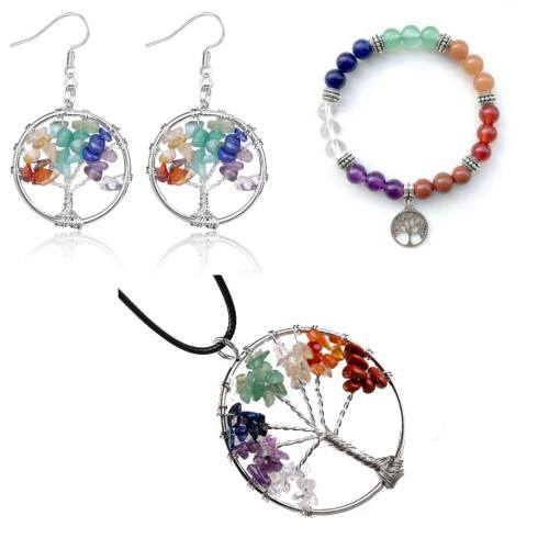 Pack Necklace Bracelet earrings set Tree Of Life 7 Chakra