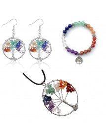 Pack Collier Bracelet Boucles D'oreilles Arbre De Vie 7 Chakras