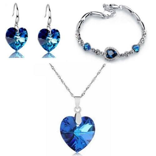 Pack Collier Bracelet Boucles D'oreilles Coeur de L'Océan Argenté Bleu