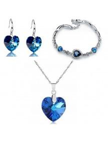 Pack Necklace Bracelet earrings Heart of The Ocean Silver Blue