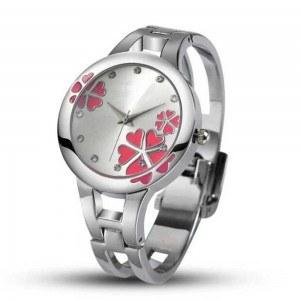 Reloj De Mujer Color Rojo De La Flor De Acero Inoxidable De Lujo - Plata/Rosa Oscuro