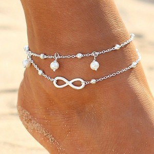 Chain of Ankle - Infinity and Pearls - White_Silver