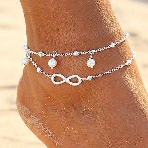 Řetěz kotníku - nekonečno a perly - White_Silver