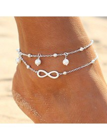 Chain of Ankle - Infinite and Pearls - Blanc_Argent