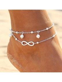 Knöchelkette - Infinity und Perlen - White_Silver