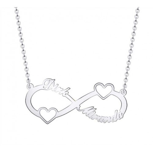 Necklace Infinity Silver 2 Names With Hearts + Gift Box