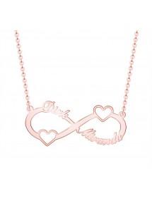 Collier Infini Doré Or Rose 2 Prénoms Avec Coeurs + Coffret Cadeau