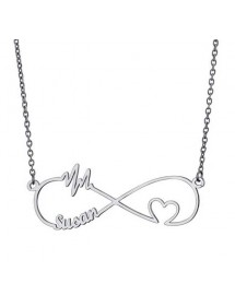 Necklace Infinity Silver 1 or 2 Names With Heart and Beat