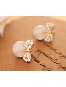 Pendientes de perlas de Alas pajarita y Blanco Perla