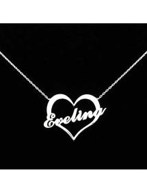 Halsband, Personlig Hjärtat Namnet Silver